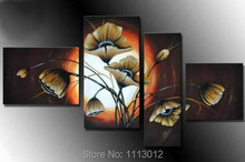 Modern Abstract Fashion Artwork Yellow Lily Flower Oil Painting On Canvas 4 Panel Art Set Home Wall Decorative For Living Room