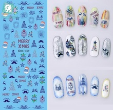 Rocooart DS359 Water Transfer Nails Art Sticker Colorful Merry Christmas Xmas & Year Nail Wrap Sticker Manicura stickers