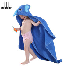 MICHLEY Kids Towel 2017 Toddler 100% Cotton Bathrobe Baby Boys Girls Spring Animal Hooded Bath Towel Children Cartoon Towel QWA
