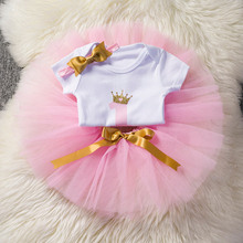 3 Pcs Baby Girl Clothes 1st Birthday Outfits Toddler Girls Dresses 1 Year Birthday Party Kid Tutu Dress with Sequin Bow Headband(China)