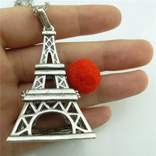 GLOWCAT A9Q740 Vintage Silver Glowing Bead Fragrance Perfume Diffuser Copper Eiffel Tower Locket Pendant Necklace 24""