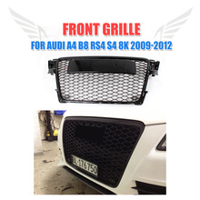 Front Mesh Grille Honeycomb Grill Fit For Audi A4 B8 RS4 S4 8K Black 2009-2012 Black RS Style Grille Guard Car Styling