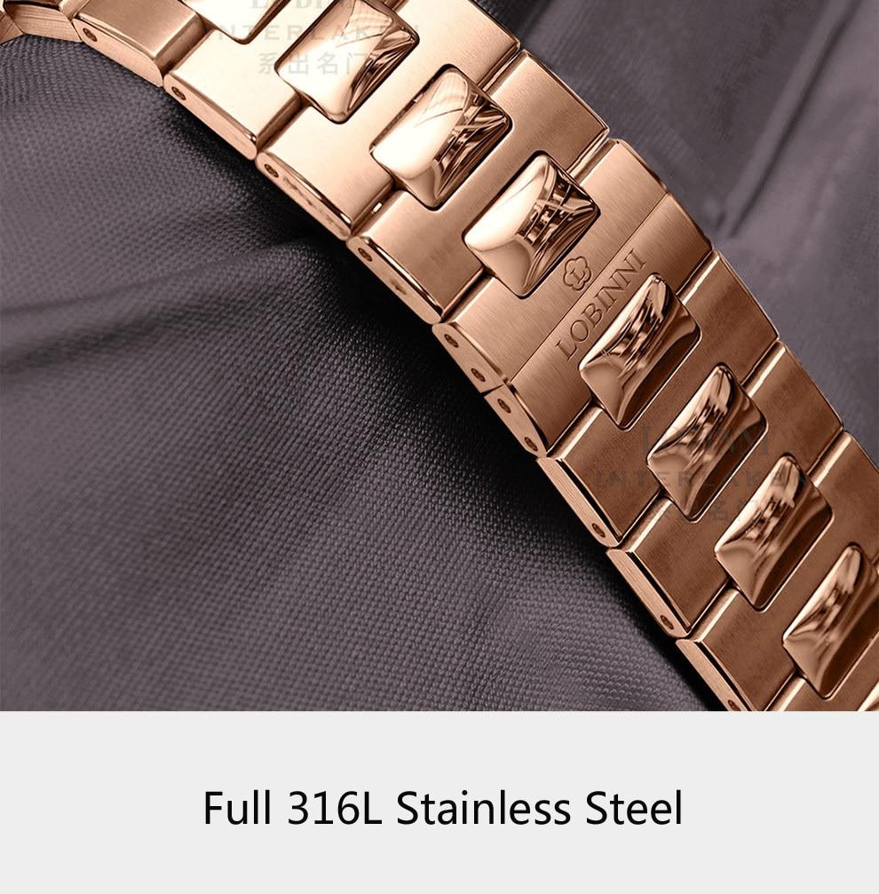 LOBINNI New Men Watches Top Luxury Brand Japan Import NH35A SII O Auto Mechanical MOVT Men's Clock Sapphire reloj hombre L1018-8 17