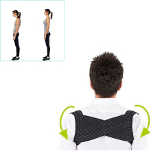 Light Weight Adjustable Posture Corrector Corset Back Brace Relieves Neck Back and Spine Pain Improves Posture (Black)