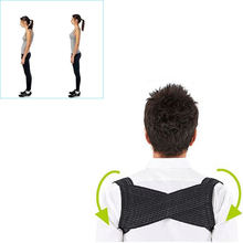 Light Weight Adjustable Posture Corrector Corset Back Brace Relieves Neck Back and Spine Pain Improves Posture (Black)(China)