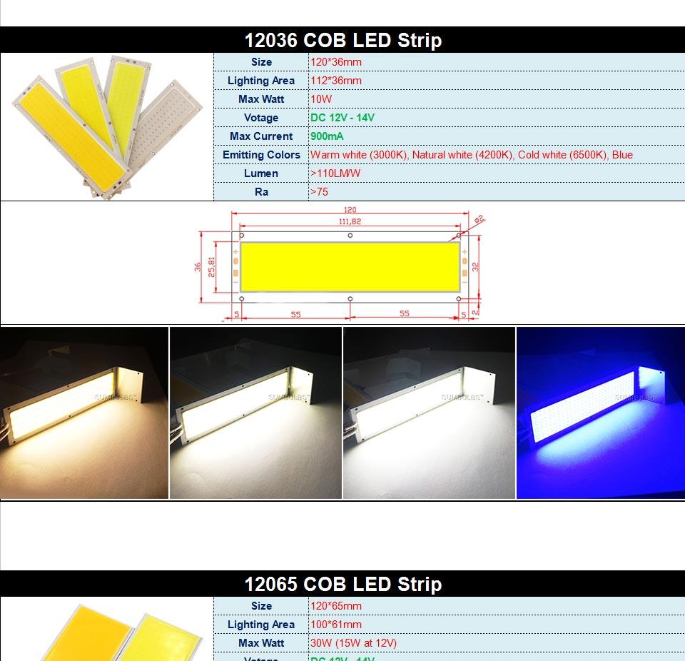 DC12V LED COB Bulb Light Emitting Diodes 2W-200W Round COB Strip White Red Blue Color 12V LED Lamp Chip for Auto Car Bulbs DIY (6)