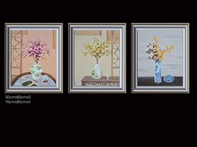 Painted high-quality ( flowers ) canvas art gallery set oil on canvas, modern home decorative murals, knife painting(China)