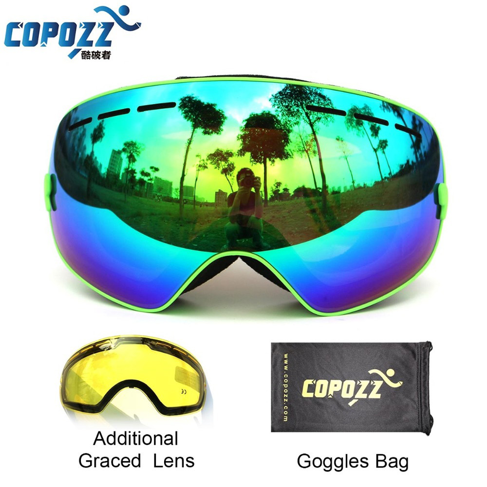 COPOZZ brand professional ski goggles 2 double lens anti-fog weak light anti-fog spherical skiing glasses men women snow goggles<br>
