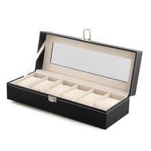 YCYS Mens 6 Slots Leather Jewelry Watch Show Case Storage Display Box