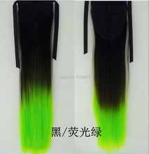 New Synthetic Long straight Hair Ribbon Ponytail Ombre Ponytail Hair Piece Clip In Hair Extensions Free Shipping
