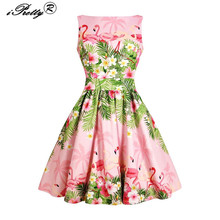 Buy Vintage Dresses Women Plus Size 3xl 4xl flamingo Leaves Print 1950s 60s Style Rockabilly Robe Elegant Party Retro Dress for $14.24 in AliExpress store