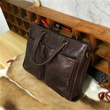 Leacool Vegetable Tanned New Design Men's Briefcase Satchel Bags For Men Business Fashion Messenger Bag 14' Laptop Bag(China)