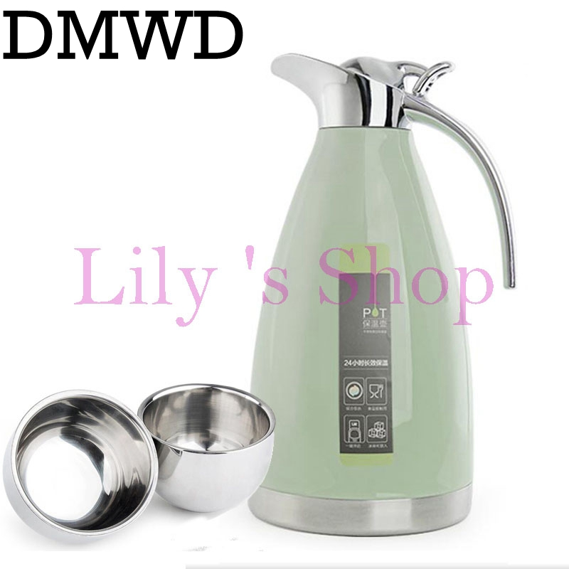 Stainless steel hot water bottle home insulation pot Thermos bottle Vacuum flask insulation kettle large capacity 2L with 2 cups<br>