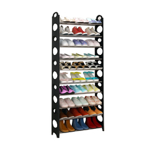 Shoe Rack Free Standing Adjustable Organizer Space Saving Black(China)