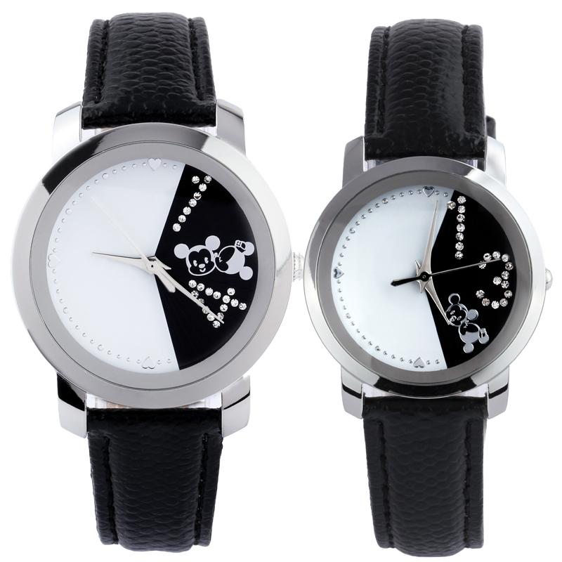 DISNEY original brand Couple fashion watch women rhinestones crystal leather strap ladies quartz-watch dress clock montre femme<br>