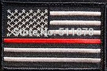 "3"" Firefighter Thin Red Line United States Flag Patch Fire & Rescue Embroidered Emblem Vercl On Patch Authentic Jersey Logo"