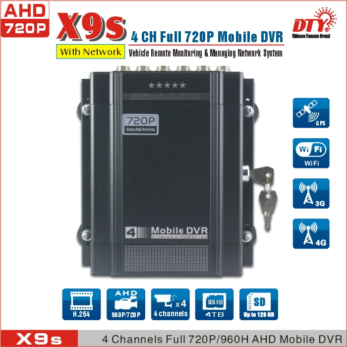 X9s+GPS+3G+4 AHD Cameras, 4ch AHD Mobile DVR with GPS 3G with 4pcs AHD Cameras.(China (Mainland))