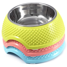 Fashion Stainless Steel +Silicone Anti-skid Pet Dog Cat Food Water Bowl Pet Feeding Detachable Bowls Tool Pet Feeder(China)
