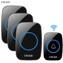 CACAZI New Wireless Doorbell Waterproof 300M Remote EU AU UK US Plug Door Bell Chime 110V 220V battery 1 transmitter 3 receiver