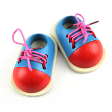 Baby toy shoes shoelace lacing up tool early development wooden toys