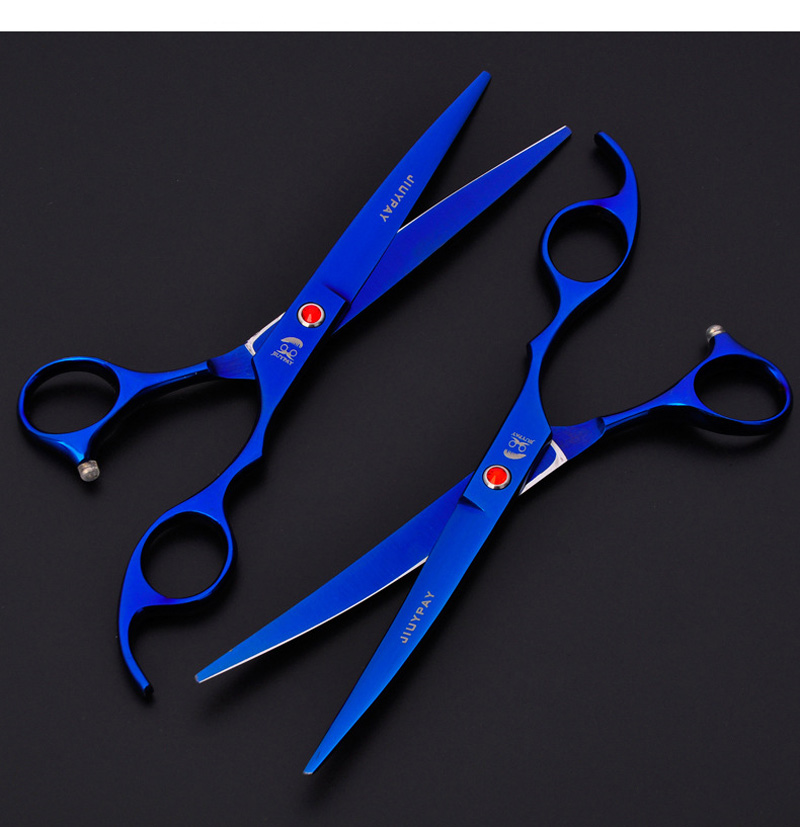 Gold Black Blue Cut Dog Hair Scissors Set tijeras 7 inch Straight Curved Thinning Shears Professional Pet Grooming Scissors Kit 10