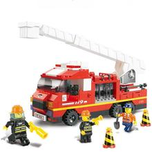 BOHS Building Blocks Fire Rescue Truck with Ladder Three Firefighter Children Toy, 270pcs(China)