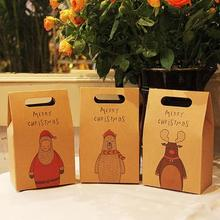 2pcs/lot Kraft Paper Bag Merry Christmas Gift Bags Cake Dessert Packaging Box wedding Party Christmas supplies F2