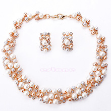 Hot Sale Wedding Lady Party Jewelry Crystal Rhinestone Faux Pearl Necklace Earrings sets(China)