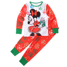 2015 Minnie Mouse Boys Girls Kid Pajamas Set Christmas Cartoon baby sleepwear Set