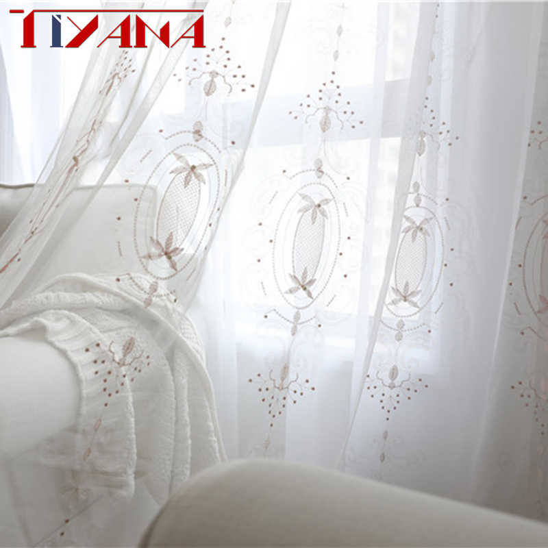 Embroidered Pink Flower Tulle Curtains Fabric For Living Room Luxury Peals Beaded Lace Net White Voile Drapes For Bedroom AG0952