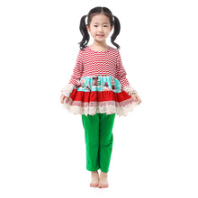 Girls Clothing Sets New Christmas Outfits Girls Toddler Girl Clothing Children's Boutique Clothing Suits Cotton Kids Wear Lace