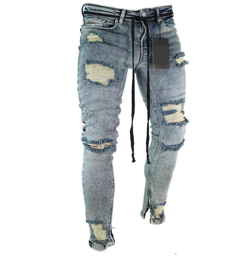 296d42b7 Длинные рваные штаны в обтяжку джинсы Тонкий Весна отверстие 2018 Мужская  мода тонкие обтягивающие джинсы для