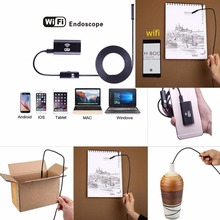 1/2/5m 7mm WIFI Endoscope Borescope Snake Inspection Camera Scope For Android iOS Professional Min Camera Portable Tube Gift