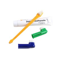 Dog Puppy Cat Toothbrush 1pcs Flavour Toothpaste +1pcs Two-head Toothbrush+2pcs Brush Head Pet Toothbrushes Set(China)