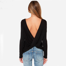 2017 Spring Autumn Sexy Open Back Fashion Tops Women Cheap Casual Long Sleeve Black Sexy Cross Backless Blouse S-M-L-XL