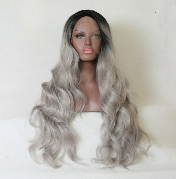 2016 Free shipping Ombre Silver Grey Bodywave Synthetic Lace Front Wig Glueless Long Natural Black/Gray Heat Resistant Hair Wigs<br><br>Aliexpress
