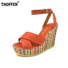 TAOFFEN women new wedge high heels fashion lady sexy heels sandals P1705 Hot style size 34-39 factory price(China)