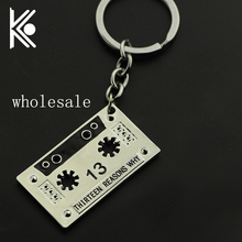wholesale 20/pc 13 Thirteen Reasons Why jewelry Silver key chain Fan club gift Free shipping
