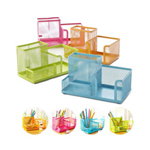 18.6*10.2*9.5Cm New Multifuction Stationery Desk Organizer 4 Cells Metal Mesh Desktop Office Pen Pencil Holder Study Storage(China)