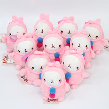 10pcs/lot Cute Cartoon Moland Rabbit Plush Dolls with Chain Stuffed Soft Toys Kids Gift Pendants 10cm AP0566(China)