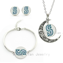 Exquisite popular baseball sports wedding party jewelry sets case for Seattle Mariners team necklace earrings bracelet gift M15