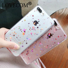 Glitter Transparent Soft TPU Phone Case For iPhone 7 For iPhone 6 6S 7 Plus Sparkling Stars Shinning Clear Phone Back Cover