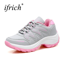 Ifrich Athletic Women Running Shoes 2017 Leather Women Sport Trainers Black Gray Training Sneakers Light Brand Gym Sneakers(China)