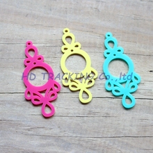 "(3colors,24pcs/lot) 60mm Acrylic Earrings Lace Oorbellen Ornametns Yellow,Turquoise,Hot Pink Laser Cut 2.4"" -AC1307B(China)"