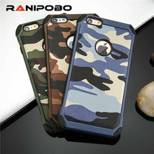 2 in 1 Army Camo Camouflage Pattern back cover Hard Plastic and Soft TPU Armor protective phone cases for iPhone 5 5S 6 6 plus(China)
