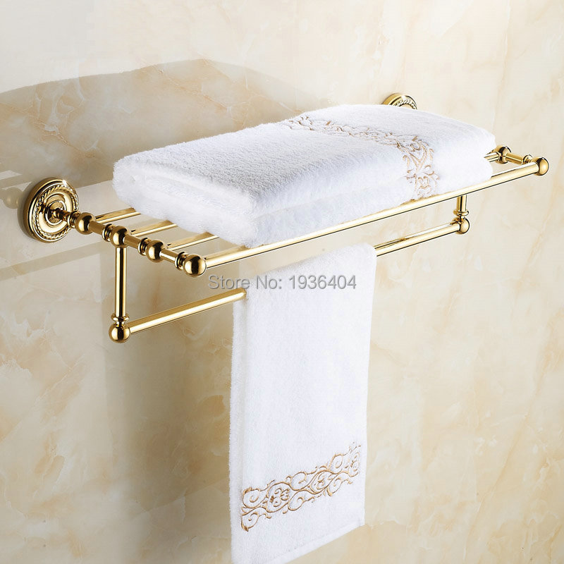 Luxury Euro Design Golden Finish Antique Brass Bathroom Towel Racks Romatic Double Towel Rack Wall Mounted Towel Shelf TR1003<br>