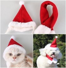 Christmas Dog Cap X'mas Pet hat Dog Cats Red Hat Scarves  Party Headwear Headdress Costume  Pet Supplies