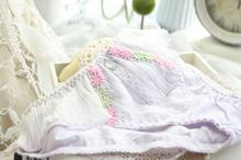 100% Real Photoes New Arrival Princess Lovely Cute Lolita Unique Lace Floral banding Ruffle Panties Underwear brief wp283(China)