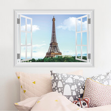 Paris Eiffel Tower Wall Stickers Living room Restaurant TV Sofa Background decoration 3d Vivid window Wall Decals Home Decor(China)