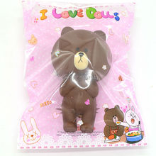 2017 New 11CM Brown Bear Squishy Kawaii Bread Line Friends Toy Decorations Gift Original Bag Collectibles Wholesale